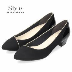 STYLE JELLY BEANS ジェリービーンズ パンプス 5614 黒 ローヒール スエード エナメル ポインテッドトゥ 日本製 ブラック レディース