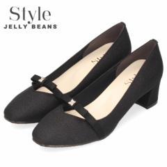STYLE JELLY BEANS ジェリービーンズ パンプス チャンキーヒール 4525 ブラック スクエアトゥ リボン ライン ビジュー レディース 日本製
