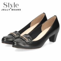 STYLE JELLY BEANS ジェリービーンズ パンプス チャンキーヒール 5309 ブラック ローファー アーモンドトゥ レディース 日本製