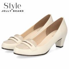 【BIGSALEクーポン対象】 STYLE JELLY BEANS ジェリービーンズ パンプス チャンキーヒール 5309 ホワイト ベージュ ローファー アーモン