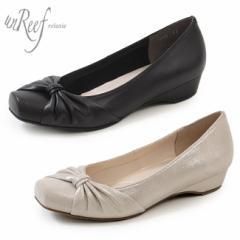 unReef アンリーフ 靴 3772 パンプス 黒 ローヒール スクエアトゥ ウエッジソール ターバンパンプス ラメ キラキラ ターバンリボン レデ
