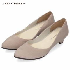 JELLY BEANS ジェリービーンズ パンプス 靴 レディース 2401 日本製 プレーン ローヒール アーモンドトゥ スエード グレー 大きいサイズ