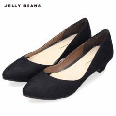JELLY BEANS ジェリービーンズ パンプス 靴 レディース 2401 日本製 プレーン ローヒール アーモンドトゥ 紺 ネイビー 大きいサイズ 小さ