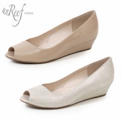 unReef アンリーフ 靴 3784 パンプス ウエッジソール ローヒール オープントゥ エナメル ラメ 本革 レディース