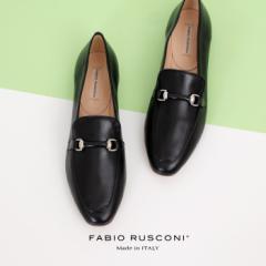【還元祭クーポン対象】ファビオルスコーニ  FABIO RUSCONI 1609 ローファー 大人 レディース 黒 ブラック 靴 フラット 本革 ローヒール