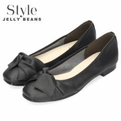 STYLE JELLY BEANS ジェリービーンズ パンプス ローヒール 665 ブラック スクエアトゥ リボン クレープラバーソール レディース 日本製