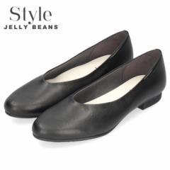 STYLE JELLY BEANS ジェリービーンズ パンプス 黒 ローヒール フラットヒール 2270 ブラック ラウンドトゥ プレーン クレープラバーソー