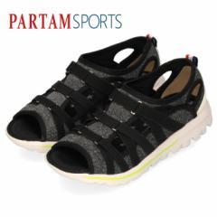 サンダル レディース 厚底 パータムスポーツ 1210 スポーツサンダル 黒 スリッポン カジュアル 軽量 PARTAM ブラック