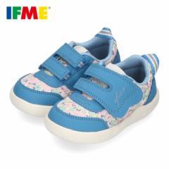 IFME イフミー ベビーシューズ 女の子 22-0123 ifme CALIN イフミーカラン 子供靴 キッズ スニーカー 軽量 花柄 ベルクロ 青 ブルー