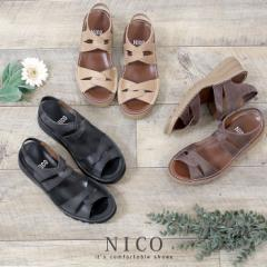 【BIGSALEクーポン対象】 NICO ニコ 厚底サンダル 歩きやすい レディース 軽量 本革 4E ワイズ 173 コンフォートサンダル バックストラッ