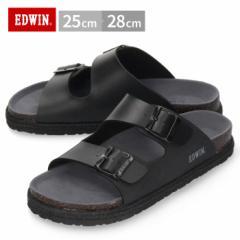 【還元祭クーポン対象】EDWIN エドウィン サンダル メンズ フットベッド ブラック EW9060 合皮 2本ベルト