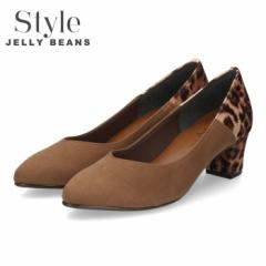 STYLE JELLY BEANS ジェリービーンズ パンプス 太ヒール ヒール 1184 ダークオーク スエード ヒョウ柄 レディース 日本製