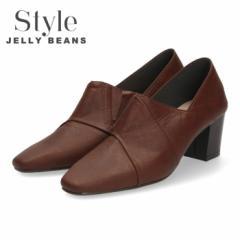 【BIGSALEクーポン対象】 STYLE JELLY BEANS ジェリービーンズ ブーティ 太ヒール パンプス 2152 茶色 レディース ブラウン 日本製