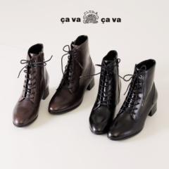 【BIGSALEクーポン対象】 cavacava サヴァサヴァ 靴 2420017 レディース レースアップブーツ ショートブーツ ローヒール 本革 黒 ブラッ