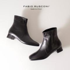ファビオルスコーニ FABIO RUSCONI 3006 F-5640 本革 イタリア ブーツ  レディース 本革 ショートブーツ スクエアトゥ 靴 黒 ブラック ク