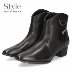 【BIGSALEクーポン対象】 STYLE JELLY BEANS ジェリービーンズ ウエスタンブーツ ショートブーツ 2569 ブラック 黒 ローヒール タッセル