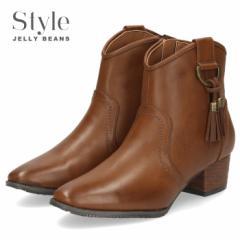 【BIGSALEクーポン対象】 STYLE JELLY BEANS ジェリービーンズ ウエスタンブーツ ショートブーツ 2569 ブラウン 茶色 ローヒール タッセ
