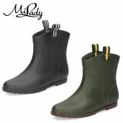 【BIGSALEクーポン対象】 レインブーツ レディース 靴 ショート 黒 ブラック カーキ 防水 ミレディ ML716