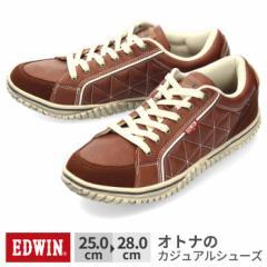 【BIGSALEクーポン対象】 スニーカー メンズ エドウィン EDWIN EDW-7543 カジュアル 軽量 ローカット レザー調 サイドキルティング ブラ