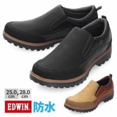 【BIGSALEクーポン対象】 スニーカー ブーツ メンズ 防水 スリッポン EDWIN エドウィン EDM-544 カジュアル 防滑 滑りにくい ブラック キ