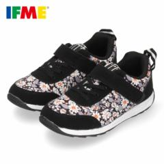 イフミー 子供靴 IFME スニーカー キッズ シューズ 女の子 30-0806  ブラック ベルクロ ジュニア ガールズ 花柄 黒