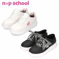 【BIGSALEクーポン対象】 キッズ ガールズ ニコ☆プチスクール スニーカー NPS 0250 2E 白 黒 W B 子供靴 定番 かわいい 運動靴