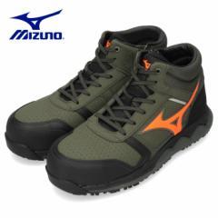【BIGSALEクーポン対象】 ミズノ 安全靴 ハイカット オールマイティ ZW43H メンズ ワーキングシューズ MIZUNO F1GA200336 カーキ オレン