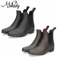 【BIGSALEクーポン対象】 レインブーツ レディース 靴 ショート 黒 ブラック カーキ サイドゴア 防水 ミレディ ML636