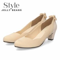 【還元祭クーポン対象】 STYLE JELLY BEANS ジェリービーンズ パンプス ヒール 靴 レディース 5348 ベージュ 太めヒール アーモンドトゥ