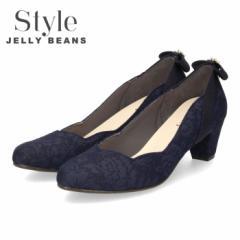 【還元祭クーポン対象】 STYLE JELLY BEANS ジェリービーンズ パンプス ヒール 靴 レディース 5348 ネイビー 太めヒール アーモンドトゥ