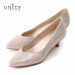 【BIGSALEクーポン対象】 unity 靴 ユニティ 本革 パンプス ローヒール 8082 PT プラチナ ラメ フォーマル レザー ポインテッドトゥ Vカ