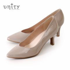 【BIGSALEクーポン対象】 unity ユニティ パンプス ヒール 本革 7687 GYE グレー エナメル Vカット レザー ワイズ 2E 靴 ポインテッドト