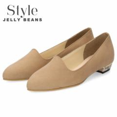 【BIGSALEクーポン対象】 Style JELLY BEANS ジェリービーンズ パンプス レディース 靴 1140 ベージュ スエード ローヒール ポインテッド