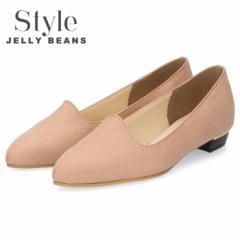 【BIGSALEクーポン対象】 Style JELLY BEANS ジェリービーンズ パンプス レディース 靴 1140 ライトピンク スエード ローヒール ポインテ