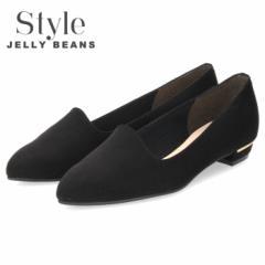 【BIGSALEクーポン対象】 Style JELLY BEANS ジェリービーンズ パンプス レディース 靴 1140 ブラック スエード 黒 ローヒール ポインテ