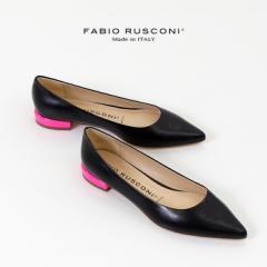 ファビオルスコーニ FABIO RUSCONI 11106 パンプス 黒 靴 ローヒール ブラック デザインヒール ぺたんこ 本革 イタリア