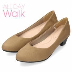 オールデイウォーク 靴 パンプス ローヒール ALD2150 ベージュ 撥水加工 2E ワイズ アーモンドトゥ スエード