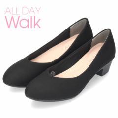 オールデイウォーク 靴 パンプス ローヒール ALD2150 ブラック 撥水加工 2E ワイズ アーモンドトゥ