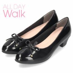 オールデイウォーク 靴 パンプス ローヒール ALD2300 ブラック 2E ワイズ アーモンドトゥ リボン エナメル 簡易防水