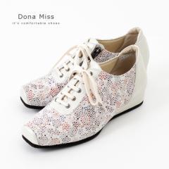 コンフォートシューズ 3E ワイズ Dona Miss ドナミス 4011 靴 レディース ホワイト 白 花柄 ヒール スニーカー ファスナー付き