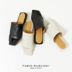 ファビオルスコーニ サンダル レディース 12003 フラット ローヒール オープントゥ スクエアトゥ 本革 イタリア 靴 FABIO RUSCONI