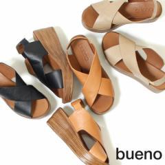 BUENO ブエノ サンダル ストラップ 厚底 レディース ヒール 3402 ウエッジソール 本革 バックストラップ クロスベルト 軽量