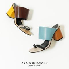 ファビオルスコーニ サンダル レディース 12001 ヒール オープントゥ チャンキーヒール 本革 イタリア 靴 FABIO RUSCONI