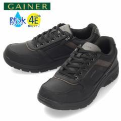 GAINER ゲイナー GN033 BLACK スニーカー ウォーキングシューズ メンズ ブラック 防水 幅広 4E カジュアル ローカット