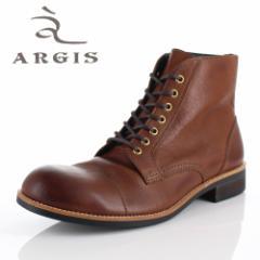 アルジス 靴 レザーブーツ メンズ 本革 ストレートチップ レースアップ ブラウン 72239 タンクソール ショートブーツ 革靴 日本製