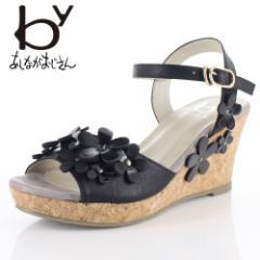 byあしながおじさん ブランド 靴 8790225 サンダル ミュール 厚底 ボリュームソール フラワー 黒 ブラック レディース セール