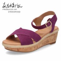 あしながおじさん 靴 6701201 PU サンダル 紫 パープル ヒール ウエッジソール ストラップ クロスベルト 本革 コルク柄 レディース