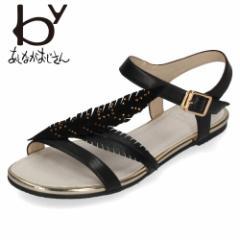 byあしながおじさん 靴 8700087 BL サンダル 黒 ブラック フラット ローヒール ストラップサンダル レザー ボタニカル リーフ カジュアル