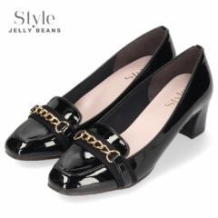 【還元祭クーポン対象】STYLE JELLY BEANS ジェリービーンズ 靴 4520 パンプス ヒール チェーンローファー 黒 エナメル スクエアトゥ チ