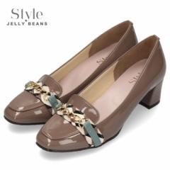 【還元祭クーポン対象】STYLE JELLY BEANS ジェリービーンズ 靴 4520 パンプス ヒール チェーンローファー オークエナメル スクエアトゥ